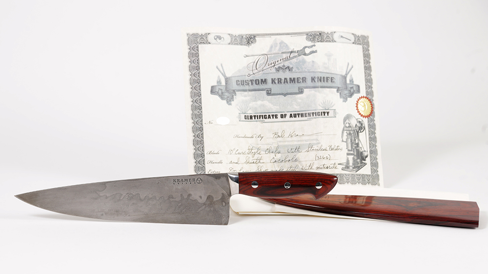 A steel and meteorite knife made specifically for Anthony Bourdain by Bob Kramer