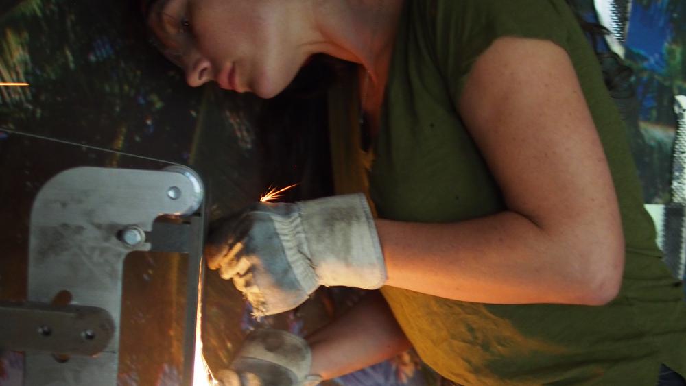 Chelsea Miller in the workshop.
