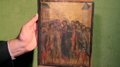 'Christ Mocked' by Cimabue was found hanging in the kitchen of an elderly French woman