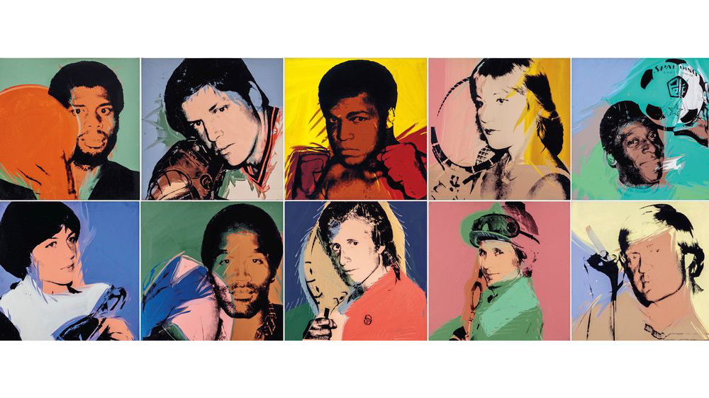 A composite image of some works from Andy Warhol's Athletes series, which were completed between 1977 and 1979