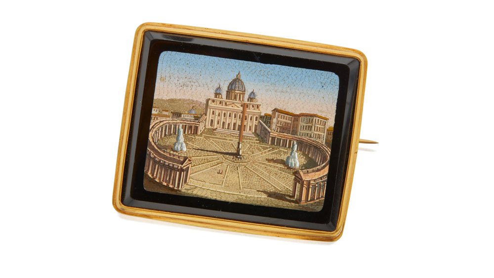 Micro-Mosaic St. Peter's Basilica Brooch