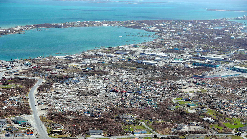 Mandatory Credit: Photo by SJOERD HILCKMANN/AP/Shutterstock (10412021g) In this handout photo provided by the Dutch Defense Ministry taken, the aftermath of Hurricane Dorian is seen on the island of Abaco in the Bahamas. Two Dutch navy ships have arrived in the Bahamas to help with the relief operation after the region was devastated by Hurricane Dorian. The Defense Ministry says that around 550 military personnel who arrived Wednesday on board the ships Snellius and Johan de Witt will deliver aid to residents on Abaco island Bahamas Hurricane Aftermath - 07 Sep 2019