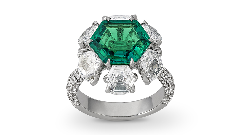 Krishna Choudhary's newly designed emerald ring