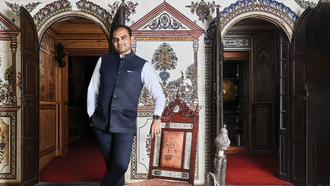 Krishna Choudhary at his family's palace in Jaipur