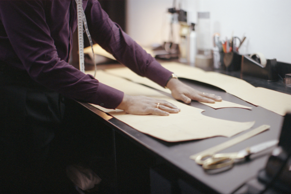 Michael Browne spends as many as 20 hours creating the bespoke patterns for his suits.