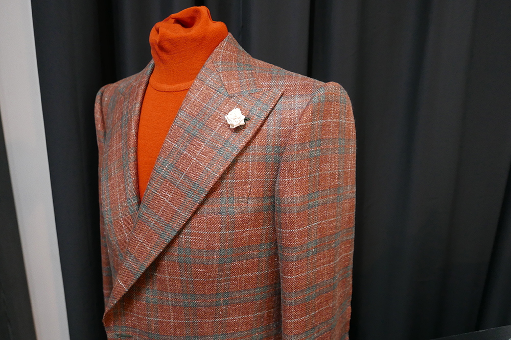 The shoulder pads on Michael Browne's suits are created by hand, designed to be as slim and sharp as possible.