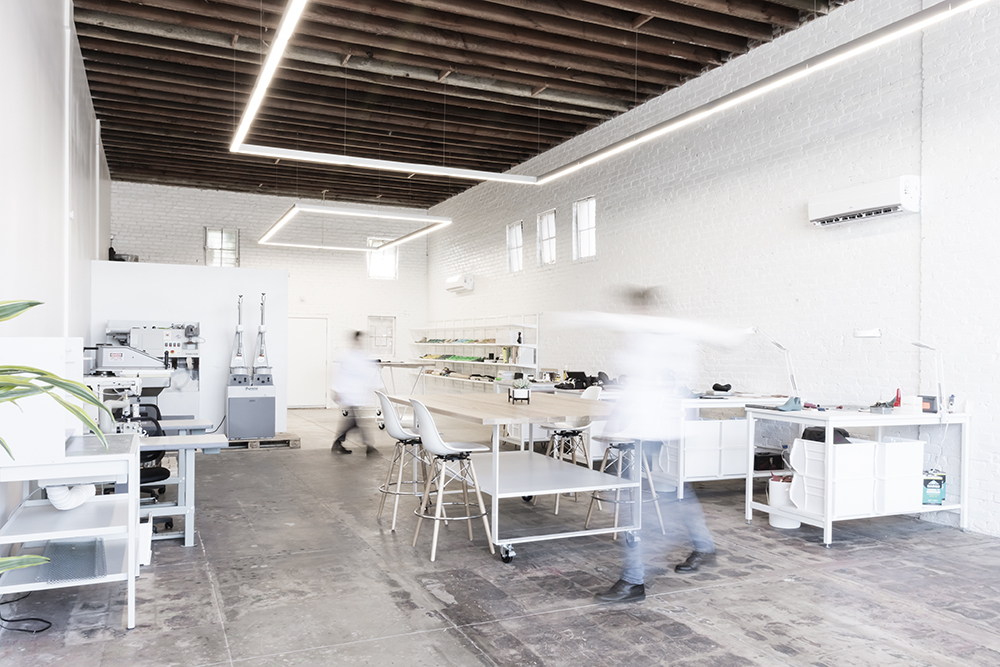 Inside the studio at No.One, a luxury and bespoke sneaker studio in Venice, California.