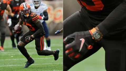 Odell Beckham wears a Richard Mille RM 11-03 McLaren Automatic Flyback Chronograph in a game for the Cleveland Browns
