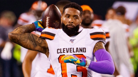 Odell Beckham wears a Richard Mille RM 56-02 Tourbillion Sapphire during warm-ups before the Cleveland Browns game against the New York Jets on September 16, 2019