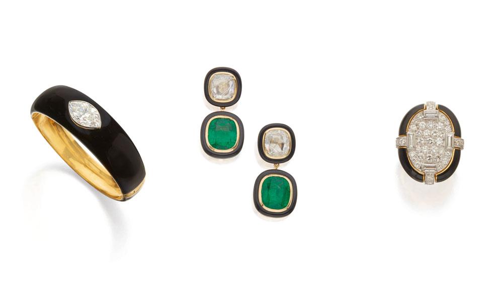 Enamel Bangle Bracelet; Emerald, Diamond and Onyx Earrings; David Webb Enamel and Diamond Ring
