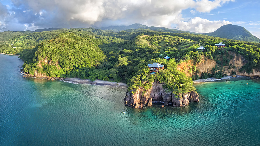 An aerial view of Secret Bay in Dominica