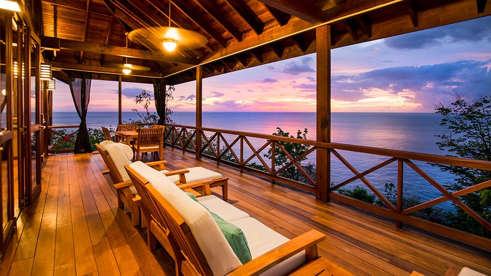 The Zabuco Villa balcony at Secret Bay in Dominica