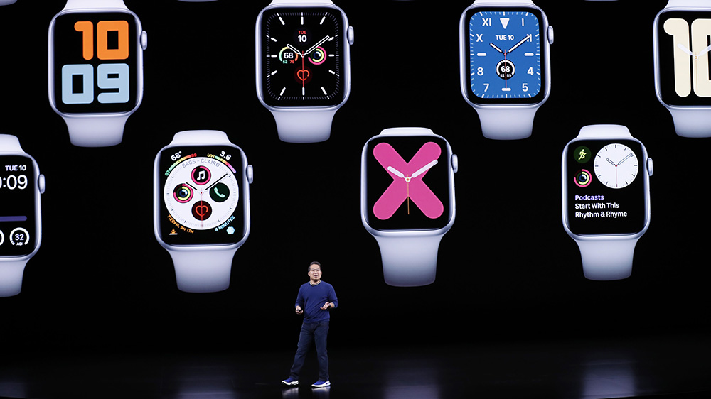 Apple Vice President Product Marketing, Apple Watch, Stan Ng speaks during the Apple Watch Series 5 event on September 10, 2019