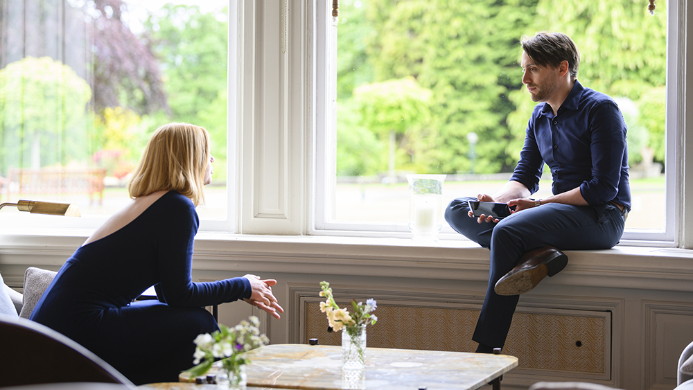 HBO Succession S2 06.10.2019 Scotland 208/18 INT LUXURY HOTEL - HALLWAY INTO RECEPTION Shiv talks to Roman, she wants Tom to play along. Succession S2 | Sourdough Productions, LLC Silvercup Studios East - Annex 53-16 35th St., 4th FloorLong Island City, NY 11101 Office: 718-906-3332