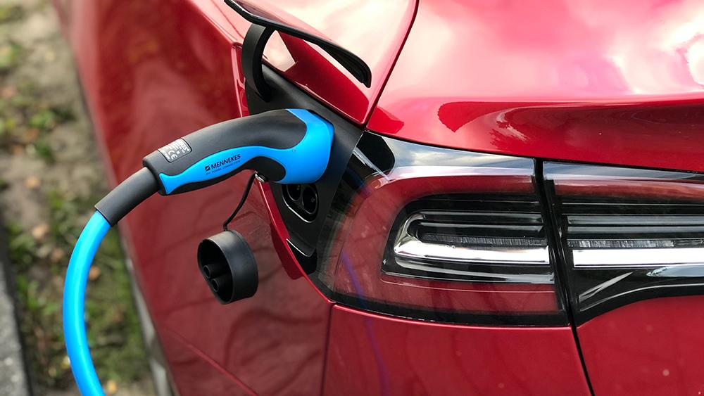 Tesla Model 3 charging close up