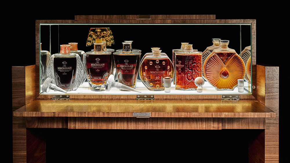 The Macallan 50 Year Lalique Edition Six Pillars Collection in bespoke cabinet