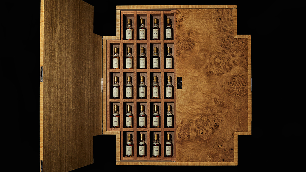 The Macallan Fine and Rare Miniature Bottles in wall-mounted cabinet