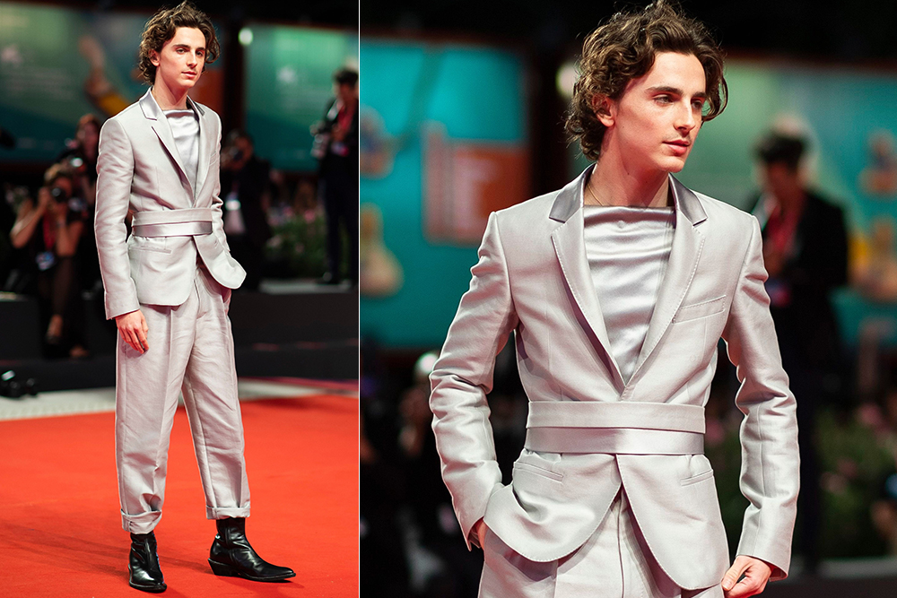 Timothee Chalamet at the 2019 Venice International Film Festival premiere of The King, wearing a Haider Ackermann suit.