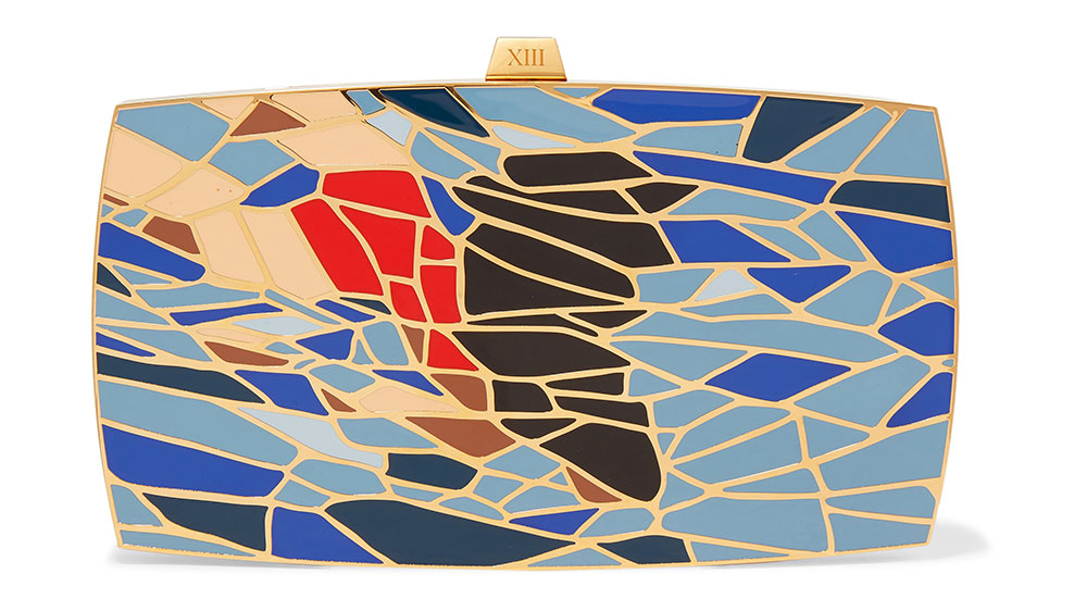 13BC gold-tone and enamel clutch.