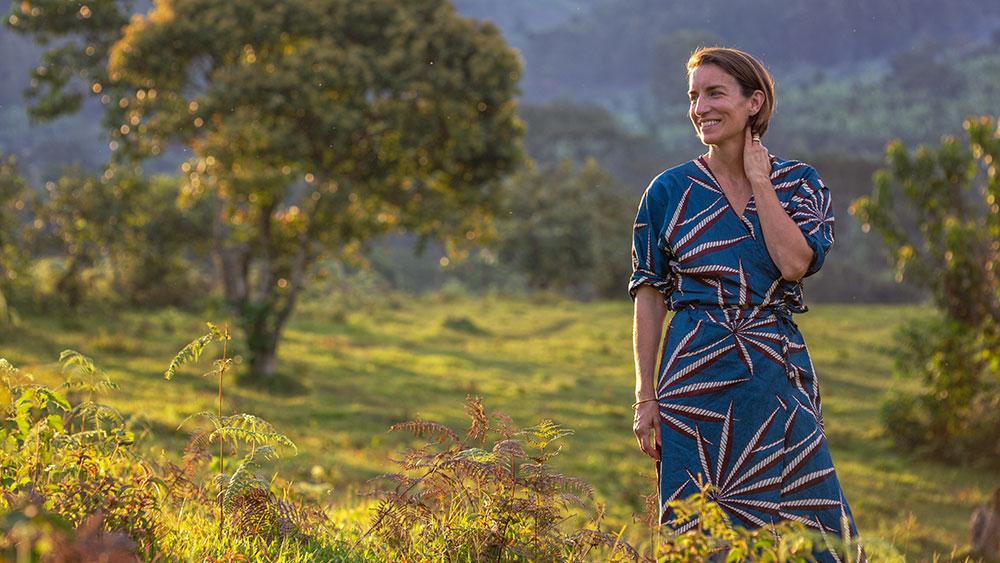 Susie Crippen wearing one of 4's designs.