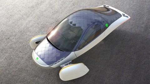 The three-Wheel Aptera electric vehicle.