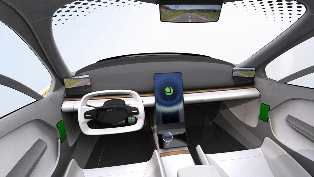 Inside the three-wheel Aptera Electric Vehicle.