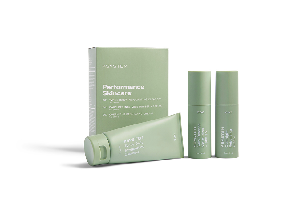 Asystem's Performance Skincare line smells natural without feeling too granola.