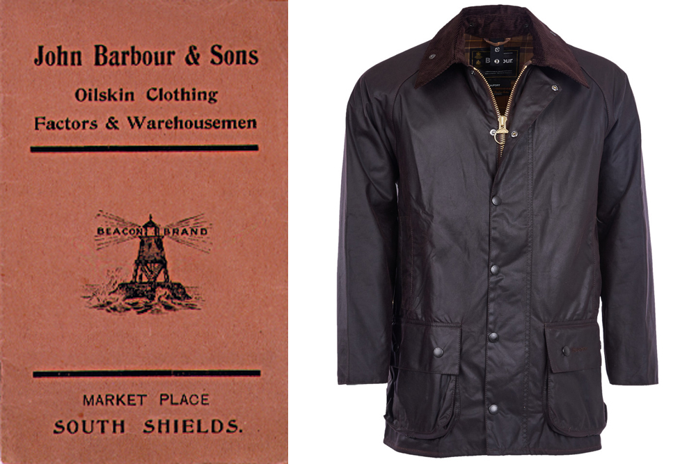 A cover from one of Barbour's original catalogs next to the brand's iconic Beaufort jacket.