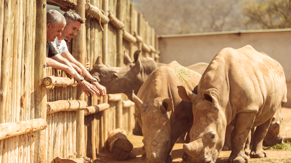 Riccardo Guadalupe and Kevin Petersen at the Rhino Sanctuary