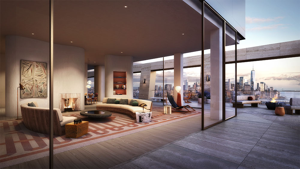 The great room at the west tower penthouse.