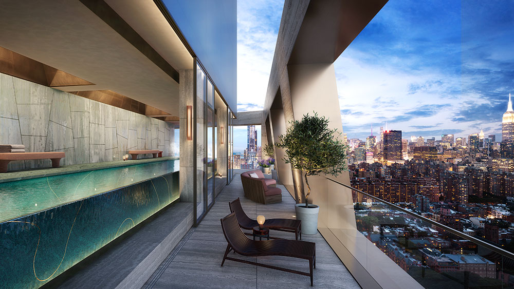 The infinity pool and wrap-around terrace.