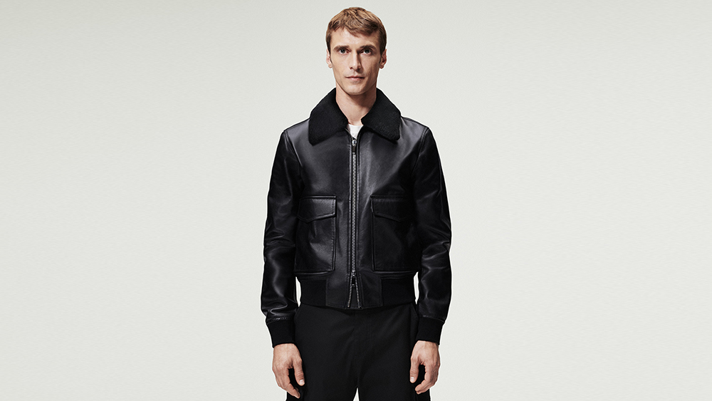A leather jacket from Dior's new Essentials collection for men.