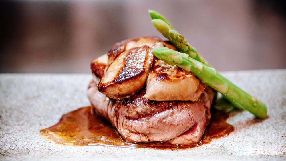 Filet mignon topped with foie gras.
