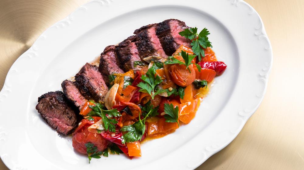 hanger steak cherry peppers oregano