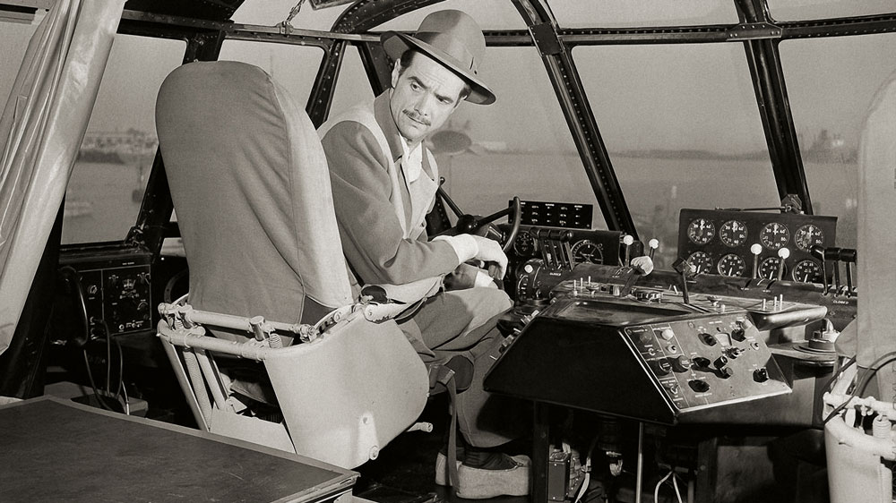 Howard Hughes in the Spruce Goose Cockpit