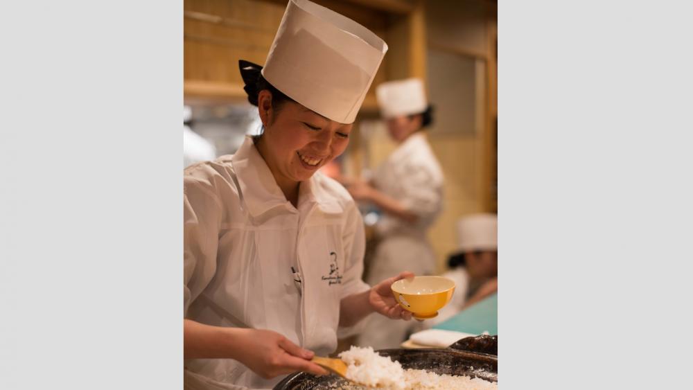 Head chef Yubako Kamohara preps some rice.