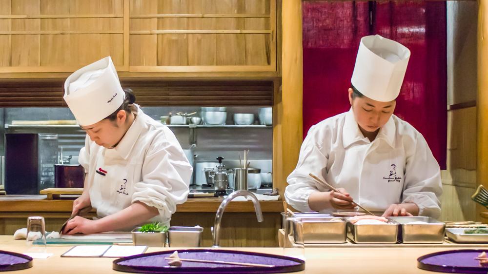 Chefs at Tsurutokame's counter.