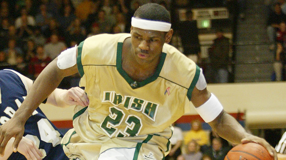 Lebron James playing for for the St. Vincent-St. Mary Fighting Irish in 2003
