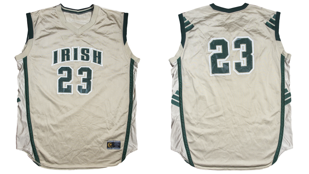 The St. Vincent-St. Mary Fighting Irish jersey Lebron James wore for the cover of the February 10,2002 issue of Sports Illustrated