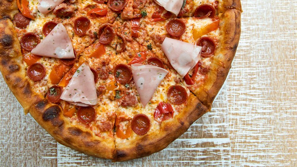 Pizza-Pepperoni Sausage Mortadella Mozzarella Sicilian Oregano