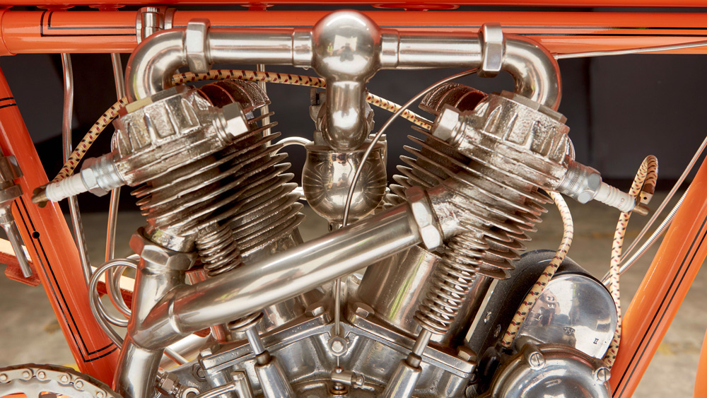 A 1910 Flying Merkel 884 cc Twin Engine motorcycle.