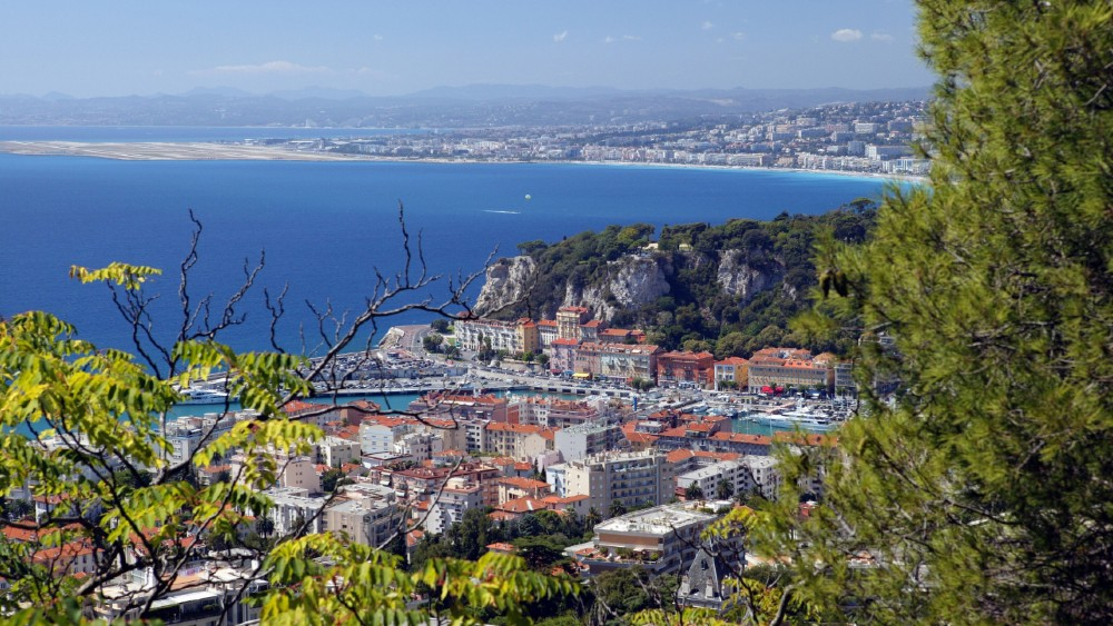Clifftop view of Nice, France