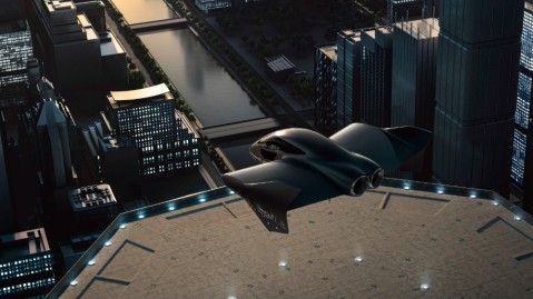 A rendering of a possible Porsche and Boeing electric-powered vertical takeoff and landing (eVTOL) aircraft