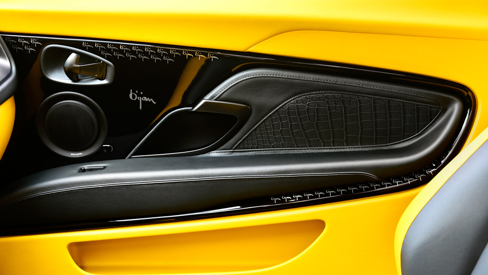 A door panel inside Aston Martin's Bijan Edition DBS Superleggera.