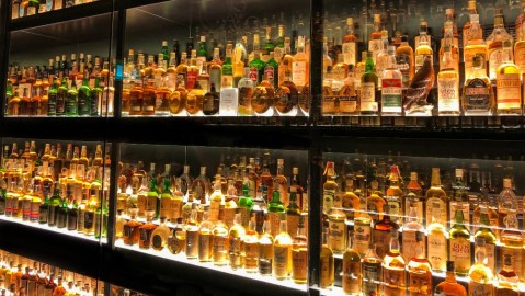 The Diageo Claive Vidiz Collection of 3.384 bottles of whiskey, displayed at the Scotch Whisky Experience in Edinburgh, Scotland.
