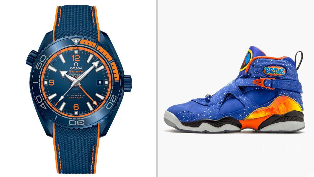 "OMEGA Seamaster Planet Ocean ""Big Blue"" paired with Doernbecher x Nike Air Jordan 8 Retro"