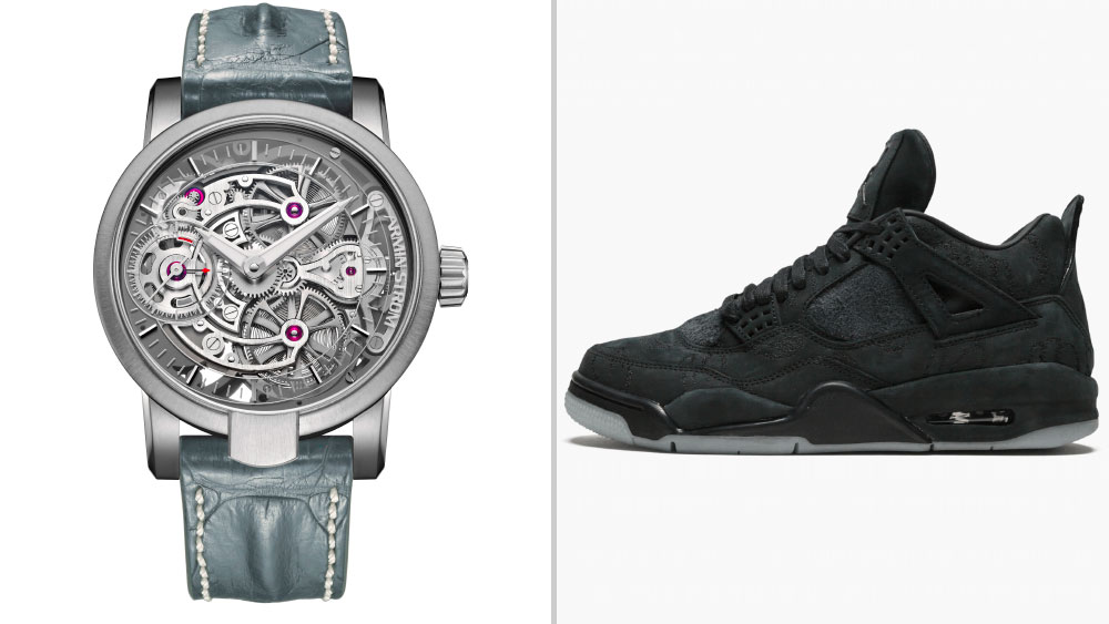 """Armin Strom Skeleton Pure """"Sneaker Time"""" Edition paired with KAWS x Air Jordan 4"""