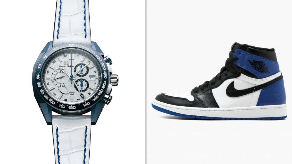 Grand Seiko Spring Drive 20th & Nissan GT-R 50th Anniversary Limited Edition paired with Fragment Design x Air Jordan 1