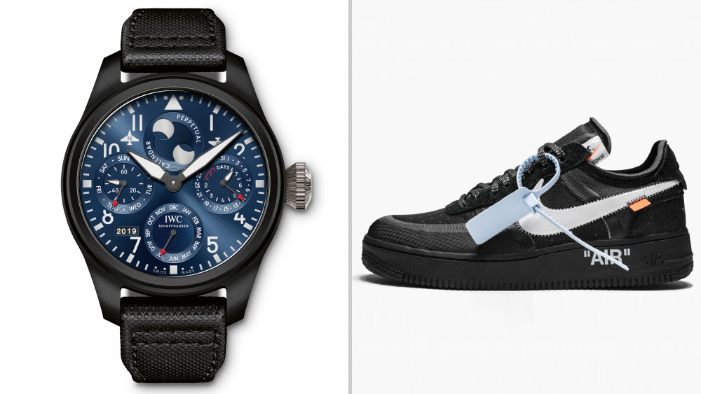"""IWC Big Pilot's Watch Perpetual Calendar Edition """"Rodeo Drive"""" Timepiece paired with Off-White™ x Nike Air Force 1 Low """"Black"""""""