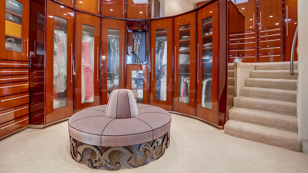 The master's walk-in closet, which occupies two floors.